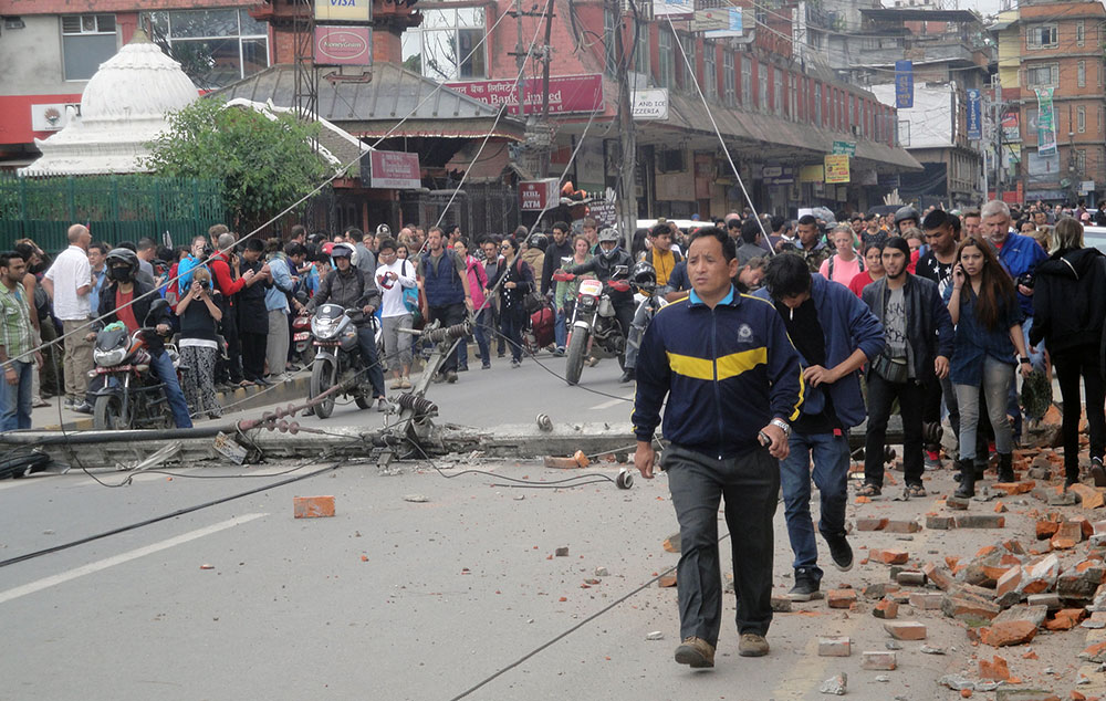 Panic in the streets of Tourist hub, Thamel after the quake