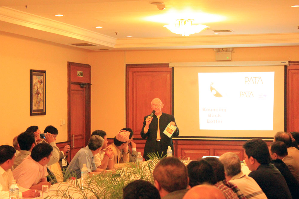 Mr. Andrew Jones, the Vice President of PATA addresses the Nepalese Tourism Personals